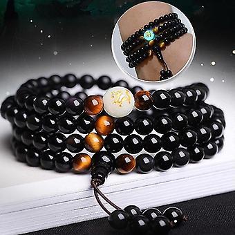 108 Beads Black Onyx Luminous Yoga Dragon Mala Bracelet Multilayer Vintage