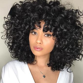 Short kinky curly wigs with bangs daily use synthetic african black wigs high temperature fiber