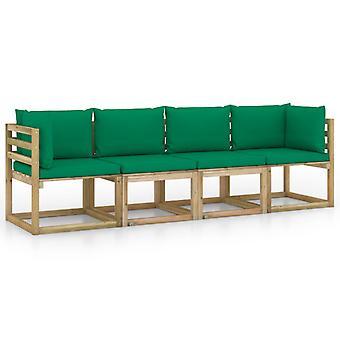 vidaXL 4-zits tuinbank met groen kussen