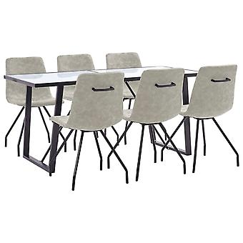 vidaXL 7 pcs. Dining group grey faux leather