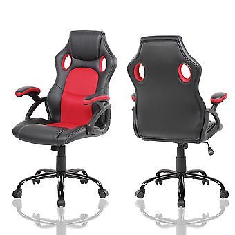 Game bureaustoel - 360 graden draaibaar - rood met zwart kunstleer