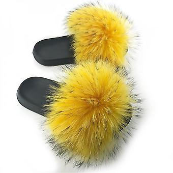 Evago Women Fur Slides Summer Shoes Home Woman Luxury Furry Slippers Indoor Female Sandals Fluffy Cute Raccoon New Plus Size