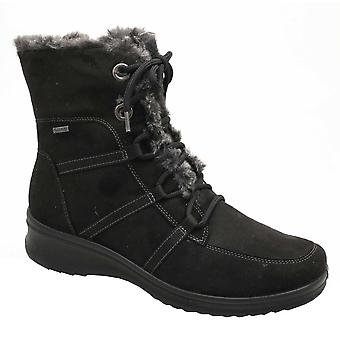 Ara Black Waterproof Gore-tex Lace-up Ankle Boot With Faux Fur Linning & Side Zip