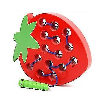 Montessori Kinderen Educatief Speelgoed Plezier Houten Speelgoed Worm Eten Fruit Appel Peer Grappig Houten Puzzel Speelgoed