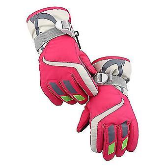 Hiihtokäsineet, vedenpitävät lasten hiihtokäsineet, moottorikelkka kylmä sääkäsineet (ruusunpunainen)