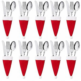 10 Piece Cutlery Fixing Bag Christmas Hat Family Gathering Christmas Decorations