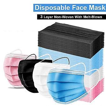 4 Farbe 100pcs Einwegmaske Chirurgische Maske 3-Schicht Elastische staubdichte Maske