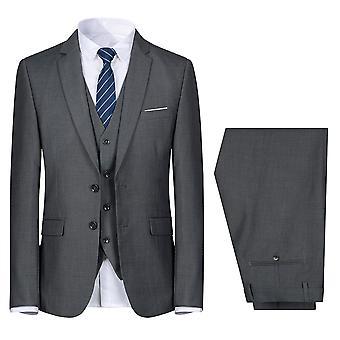 Mile Men's 3 Piece Slim Fit Suit Set, Two Button Solid Jacket Vest Pants