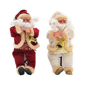 Jultomten docka flanell sitter semester ornament heminredning