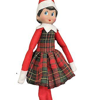 Karácsonyi Elf Baba Tündér ruhák Bíbor Kockás ruha játékok kiegészítők Nincs baba