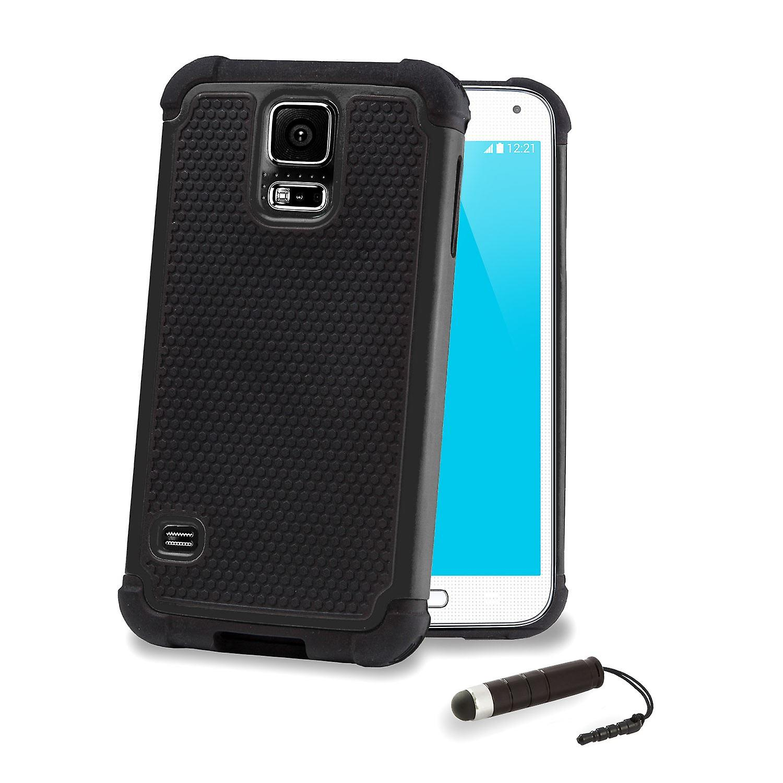 Shock Proof Case + stylus for Samsung Galaxy S5 (SM-G900) - Black