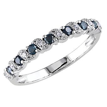 Blue and White Diamond Ring 1/4 Carat (ctw) in 10k White Gold