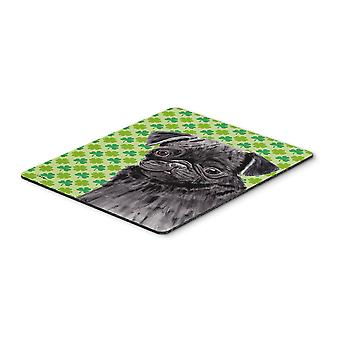 Pug Black St. Patrick's Day Shamrock Portrait Mouse Pad, Hot Pad or Trivet