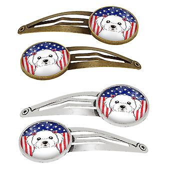 American Flag and Maltese Set of 4 Barrettes Hair Clips
