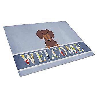 Dachshund Chocolate Welcome Glass Cutting Board Large