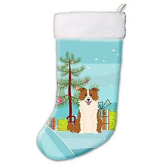 Merry Christmas Tree Border Collie Red White Christmas Stocking