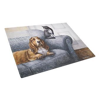 Basset Hound e gatto sul divano vetro taglio bordo grande