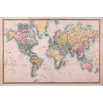 Map - Mercators Projection Poster Poster Print