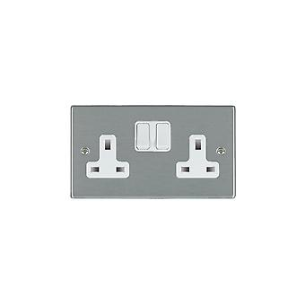Hamilton Litestat Hartland satinato inossidabile 2G 13A DP commutato Socket WH/WH