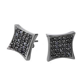 Kolczyki srebro 925 - MID krystalicznie 10 mm Czarny