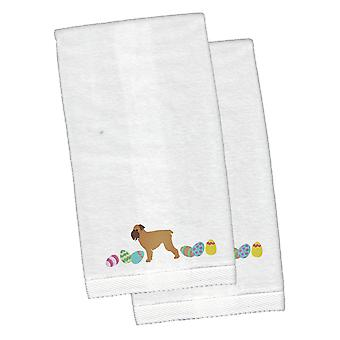 Brussels Griffon Easter White Embroidered Plush Hand Towel Set of 2