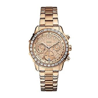 Guess Ladies Rose Gold Designer Watch Chrono + Date W0016L5