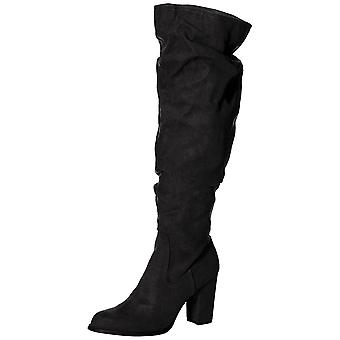 Madden Girl mujeres ceniza tela almendra dedo del pie sobre la rodilla Botas de moda