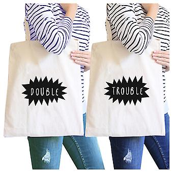 Double Trouble Natural BFF Matching Canvas Tote Cute Christmas Gift