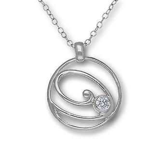 Sterling Silver Traditional Scottish Flourish Necklace Pendant - Cubic Zirconia Stone