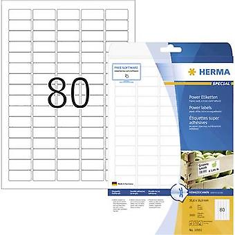 Herma 10901 Labels 35.6 x 16.9 mm Paper White 2000 pc(s) Permanent Adhesive labels (extra strong), All-purpose labels Inkjet, Laser, Copier 25 Sheet A4