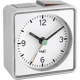 TFA Dostmann 60.1013.54 Quartz wekker zilveren alarmtijden 1 fluorescerende handen