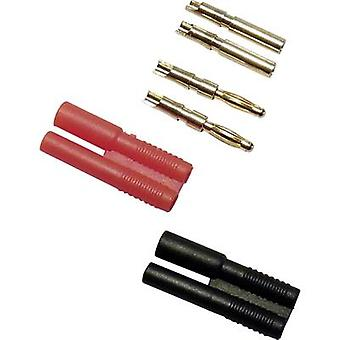 Schnepp Jack plug set Plug, straight, Socket, straight Pin diameter: 2 mm Red, Black 4 Parts