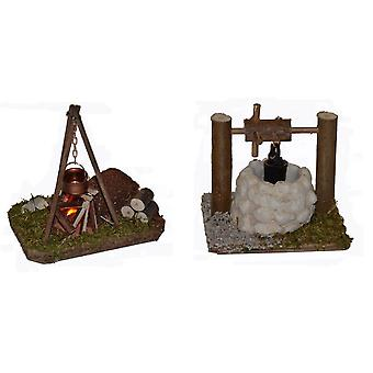 Nativity accessories cribs set Campfire flickering light wood copper boiler and fountain