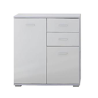 HOMCOM Modern High Gloss Front Panel Side Cabinet Table Sideboard Chest of Drawer Bedroom Living Room Storage Furniture (White)