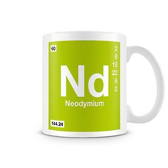 Scientific Printed Mug Featuring Element Symbol 060 Nd - Neodymium