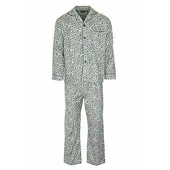 Mester Mens Paisley Varm Børstet Bomull Pyjamas Lounge Slitasje - Grønn - Xxl