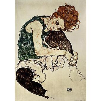 Egon Schiele Kunstdruck  Sitzende Frau mit gebeugtem Knie 90 x 60 cm