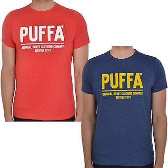 Puffa Mens Large Felt Detail Logo Short Sleeve Crew Neck Casual T-Shirt Tee Top