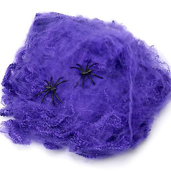 TRIXES Halloween Stretchy Spider Web Purple Cobweb Decoration with Spiders