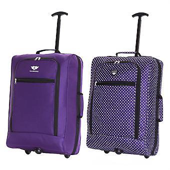Slimbridge Montecorto Satz von 2 Kabine Gepäcktaschen, (Satz von violett und lila Punkte)