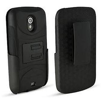 Technocel Mycarbon Rubber Case Stand Holster Belt Clip for Samsung Galaxy Nexus i515 - Black
