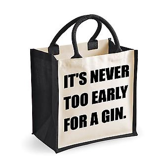 Medium Jute Bag It's Never Too Early For A Gin Black Bag