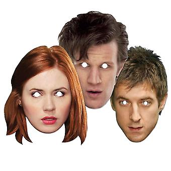Læge Hvem og Ledsagere Party Card Fancy Dress Masker Set af 3 (Dr. Who, Amy Pond og Rory)