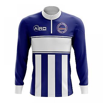 Kap Verden käsite jalkapallo puoli Lämmin Powerstretch-paita vetoketjukauluksella (Navy-valkoinen)
