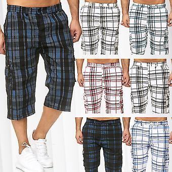 Men's Shorts Bermuda Fresh-Air Plaid Capri 3/4 Pants Pattern Stripes Loose Fit