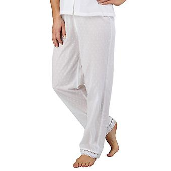 Slenderella PJ3233 Women's Cotton Woven White Pajama Pyjama Set