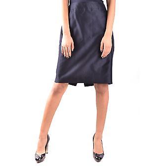Armani Collezioni Ezbc049114 Damen's Blauer Baumwollrock