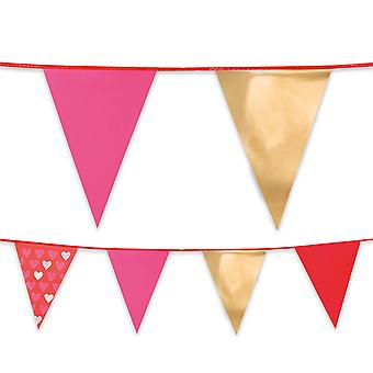 6m Long Plastic Love Hearts Bunting Pennant Flags Valentine's Day Love Party Decoration