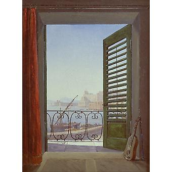 Balcon surplombant la baie de Naples, Carl Gustav Carus, 50x37cm