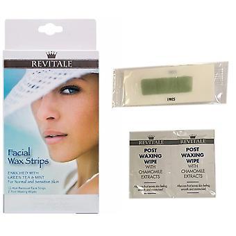 Revitale Facial Wax Strips Kit Enriched Green Tea & Mint Normal & Sensitive Skin